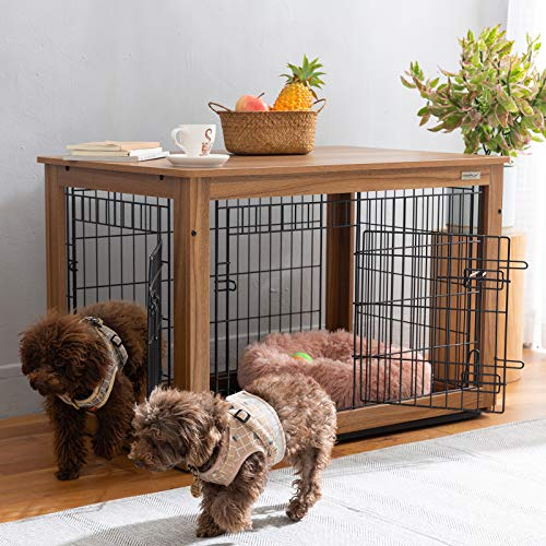 "SIMPLY+ Wooden Dog Crate with Slide Tray, Wooden Wire Dog Kennels with Double Doors, Detachable Top Cover Indoor Pet Crate Side Table,Chew-Proof (37"" L24.2 W26 H, Brown)"