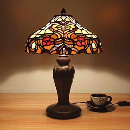 Home Déco Outlets 12 pulgadas de la vendimia pastoral de lujo barroco vitral estilo lámpara de mesa lámpara de dormitorio lámpara de cabecera