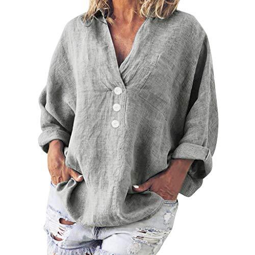 QIMANZI Bluse Damen Mode Langarmshirts Übergröße Sweatshirt Solide Beiläufig LeinenV-Ausschnitt Pullover T-Shirt Tops(D Grau,L)