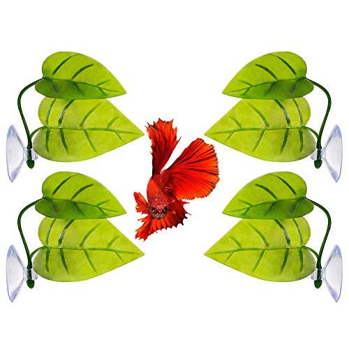 Girls'love talk Betta Fish Leaf Pad,Betta Bed Leaf Hammock Toys Plastic Aquarium Plants with Suction Cup for Fish Tank Spawning Rest Bed Aquariums Decor,4 Pcs