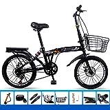 ZYD Bicicleta Plegable, Bicicletas portátiles de 20 Pulgadas y 6 velocidades, Freno de Disco Doble Bicicleta de montaña...