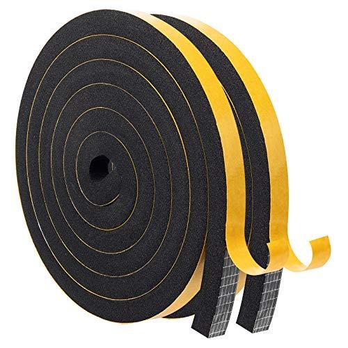 MAGZO Dichtband Selbstklebend 12mmx12mm, Selbstklebendes Schaumstoffband Moosgummiband für Kollision Siegel Schalldämmung Gesamtlänge 4m (2 Rollen x 2m Lang)