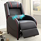 Homall Gaming Recliner Chair Racing Style Single Living Room Sofa Recliner PU Leather Recliner Seat Home Theater Seating (Red, Massage)