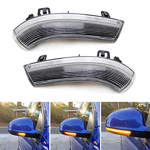 iJDMTOY Clear Lens Dynamic Sequential Blink/Flow Full LED Side Mirror Turn Signal Light Assembly Kit Compatible With Volkswagen MK5 Golf GTI R32 Rabbit Jetta B5.5 B6 Passat, etc