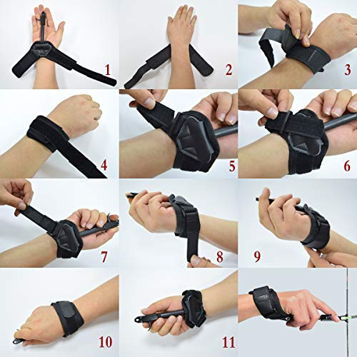 YLA Release Aids Compound Bow Caliper Release Adjustable Black Wrist Strap Archery Hunting Shooting Wrist Trigge