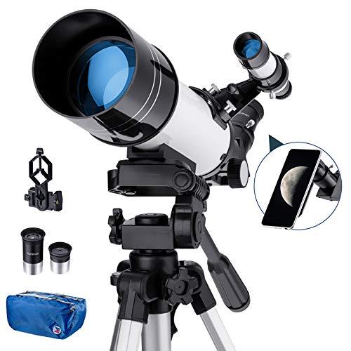 Amazon Brand –Eono Telescopio astronómico portátil, telescopio Refractor HD de 70 mm para astronomía, con 2 oculares, trípode, buscador, Ideal para Principiantes, Adultos - Blanco