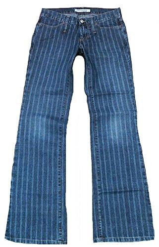 Fornarina Damen Jeans Blau Toy Denim Coole Nadelstreifen Streifen Rock Star Designer Bootcut Hose 29/34 W29 L34