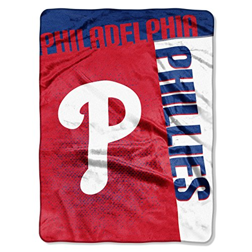 Philadelphia Phillies MLB Royal Plush Raschel Blanket (Stitch) (50x60 )