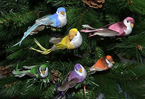 warenplus 6pcs/Set Künstliche Vögel Kunststoff Dekovögel Deko Vogel Christbaumschmuck Christbaumdeko