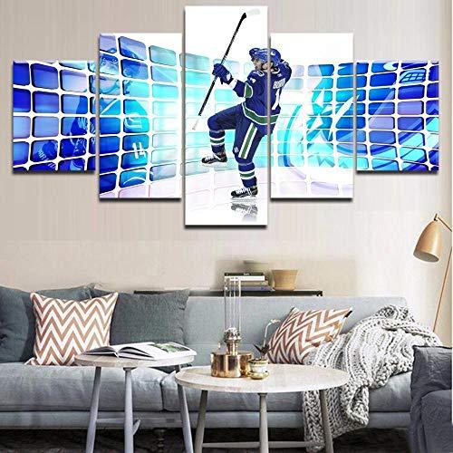 SHHSGZ Bild auf Leinwand Moderne HD 5 Teile Poster Eishockey Sport Für Modular Plakat Kunst Wand drucke Wohnzimmer Wohnkultur -150x80cm(60x32inch)
