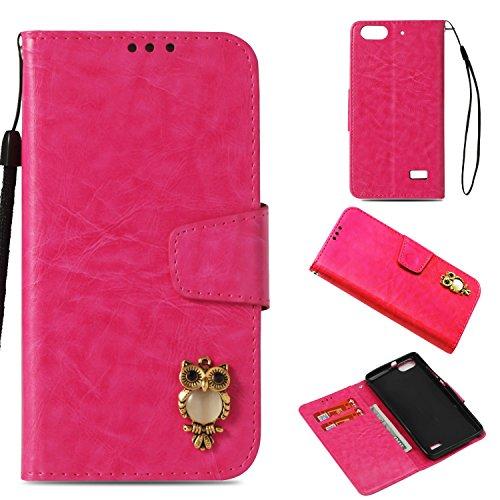 COZY HUT Huawei Honor 4C Hülle Rosa, Premium PU Leder Flip Wallet Case mit Standfunktion Karteneinschub & Magnetverschluß Schutzhülle für Huawei Honor 4C - Eule Rosa