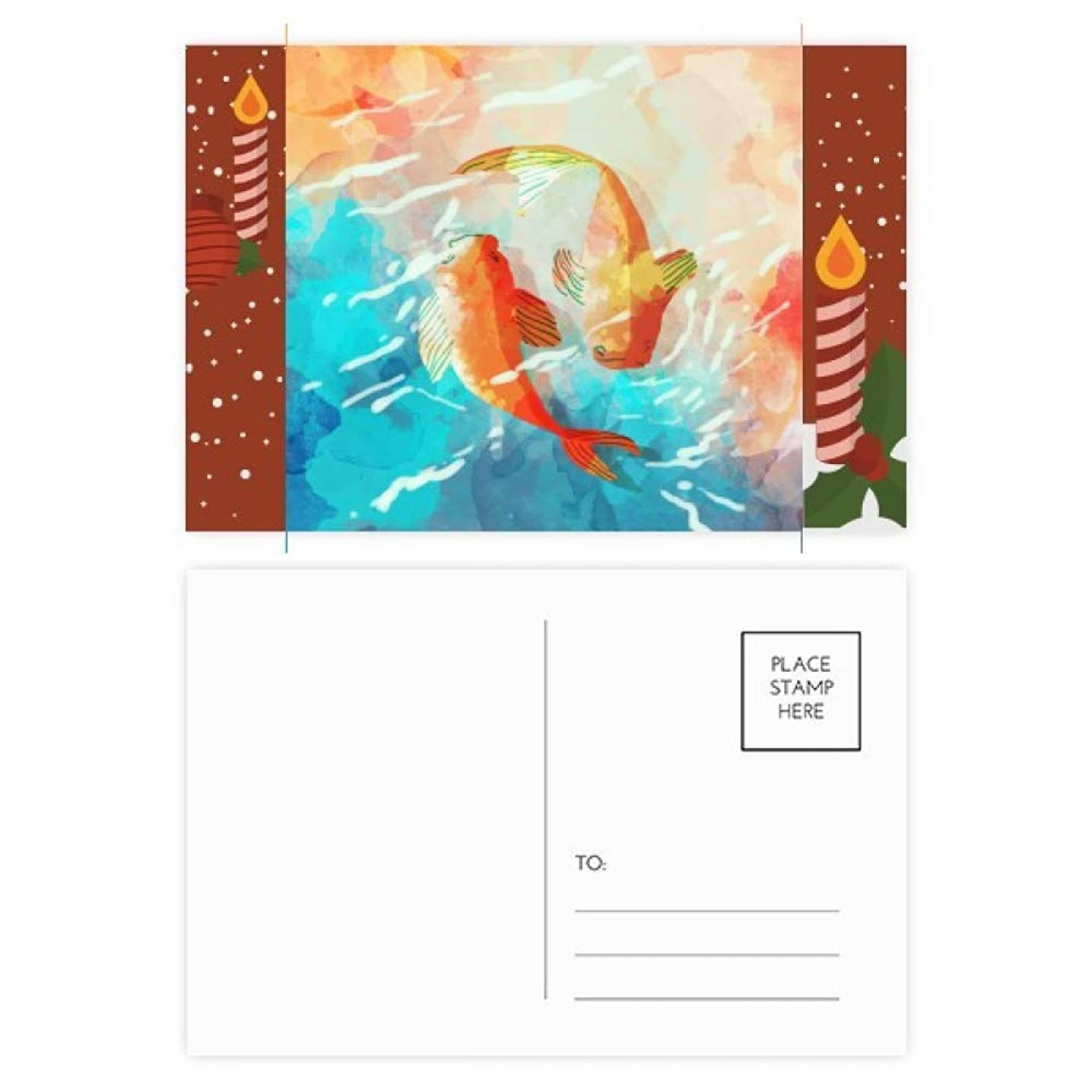 Red Koi Fishes Watercolor Japan Style Christmas Candle Postcard Thanks Card Mailing 20pcs