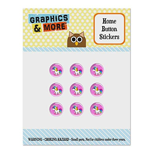 Cute Kawaii Rainbow Unicorn Chibi Set of 9 Puffy Bubble Home Button Stickers Fit Apple iPod Touch, iPad Air Mini, iPhone 5/5c/5s 6/6s 7/7s Plus