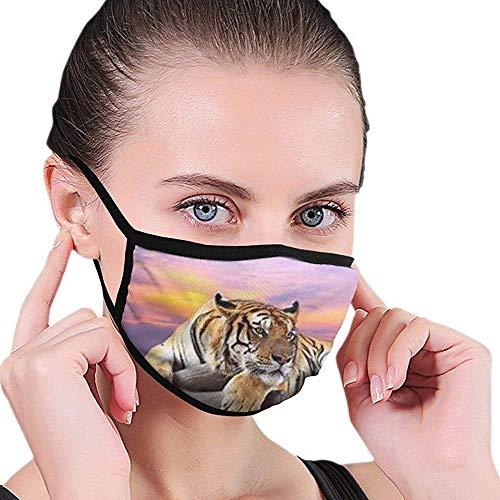 MQJJ Tiger im Sonnenuntergang Muster Design halbes Gesicht und Nasenabdeckung Coole weiche Winddichte Unisex Mundmaske