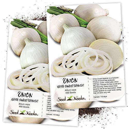 Seed Needs, White Sweet Spanish Onion (Allium cepa) Twin Pack of 450 Seeds Each Non-GMO