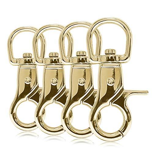 Ganzoo Scheren-Karabiner-Haken mit Dreh-Gelenk/Dreh-Kopf für Hunde-Leine/Hals-Band 4er Set, legierter Stahl ? 60mm Länge, auch für Paracord 550 / Schlüssel-Anhänger, Farbe: Gold