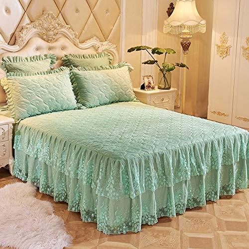 GCC Kristal Velvet Kant Bed Rokken Met Kussensloop, Winter Extra Zachte Dikke WARM Bedsprei Linnengoed Bed-voeringen, Niet slip,Anti-rimpel