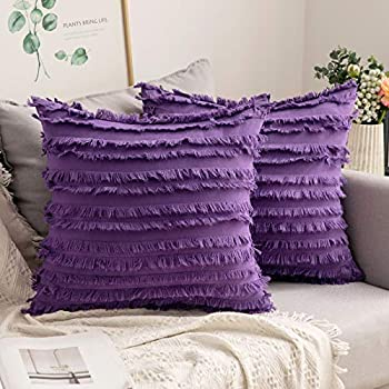 MIULEE Set of 2 Decorative Boho Throw Pillow Covers Linen Striped Jacquard Pattern Cushion Covers for Sofa Couch Living Room Bedroom 16x16 Inch Purple