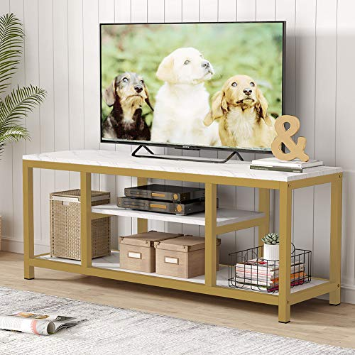 Tribesigns TV Stand, 59 InchesGold 3-Tier TV Console for TVs...