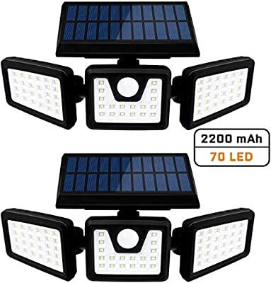 Solar Security Lights, 3 Head with Motion Sensor Lights Adjustable 70LED Solar Flood Lights Outdoor Spotlights 360° Rotatable IP65 Waterproof for Garage Pathway Porch Garden Patio Yard, 2 Pcs
