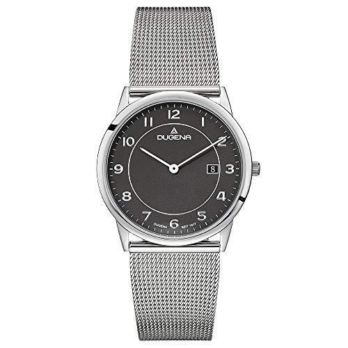 DUGENA Modena XL Herren-Armbanduhr, Quarz, Edelstahlgehäuse superflach, Mineralglas, Milanaise-Edelstahl-Armband, Schiebeverschluß, 3 bar (Silber/Schwarz)
