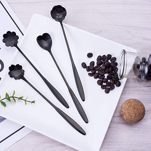 8 sticks roestvrij staal lepel koffie bloemenvorm thee roerlepel klein ijsdessert schepje bestek 8 stuks/set.
