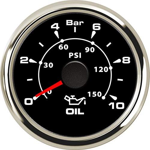 Odometer Spur 52mm Kraftstoff Manometer Flüssiges 0-150 PSI 0-10 Bar Öldruckmesser Kraftstoffanzeige Autozubehör Kraftstoffanzeige ZHQHYQHHX (Color : BS 0 10 Bar, Size : Kostenlos)