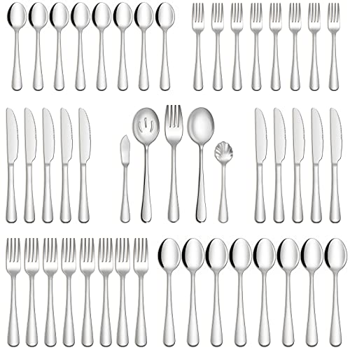 Hiware 45-Piece Silverware Set with Serving Utensils for 8, Food Grade Stainless Steel Flatware Cutlery Set for Home and Restaurant, Fork Spoon Knife Set, Mirror Finish, Dishwasher Safe