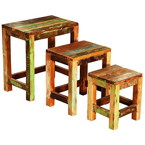 Juego de 3 mesas bajas nido de salón de madera maciza, duraderas, mesa auxiliar, mesa auxiliar, mesa de café, para salón, dormitorio, oficina
