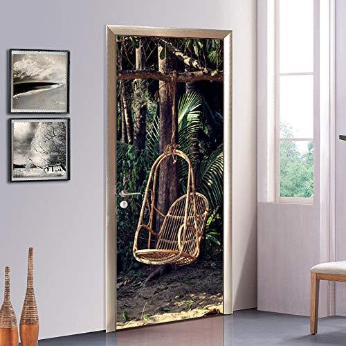 Bdhnmx Etiqueta engomada de la puerta 3D Pelar y pegar Calcomanías de vinilo para mural Bosque Patrón de silla de mimbre para decoración del hogar Póster Autoadhesivo (77x200cm)