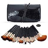 32pcs Conjuntos De Pinceles De Maquillaje Foundation Eyeshadow Liquid Foundation Eyeliner Lip Gloss Makeup Cosmetic Set para Profesionales Y Uso Diario Negro