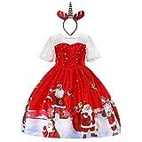 OBEEII Fille Déguisement de Noël Robe Princesse Christmas avec Renne Bandeau pour Cérémonie Canaval Fête Photographie Costume...
