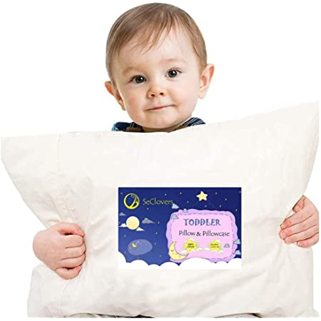 Cute Printed Pillow for Sleeping Kids Baby Sleeping Pillows for Toddlers Travel Toddler Pillow with Soft Organic Cotton Pillowcase Machine Washable Infant