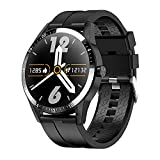 NONGLAN Smartwatch Men Bluetooth Call Frequenza Cardiaca ECG Pressione Sanguigna Dial Personalizzato 1.28 Pollici Smart Watch per Android iOS(Color:Nero)