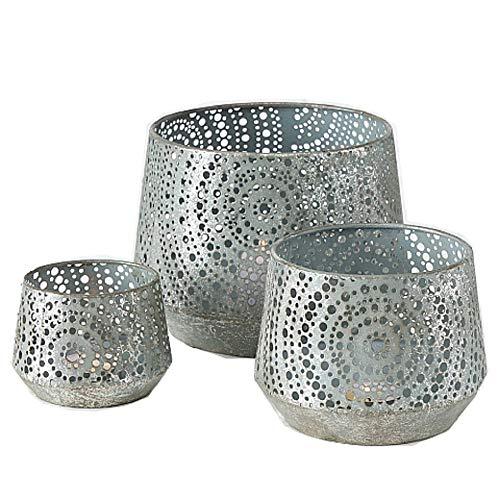 CasaJame Hogar Muebles Decoración Accesorios Adornos Portavelas Candelabros Faroles Juego de 3 Linternas Decorativas Metal Gris Altura 54-75cm Ø16-22cm