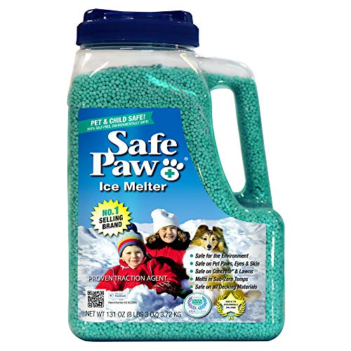 Safe Paw, Child Plant Dog Paw & Pet Safe Ice Melt -8lb, 100% Salt/Chloride Free -Non-Toxic, Vet Approved, No Concrete Damage, Fast Acting Formula, Last 3X Longer