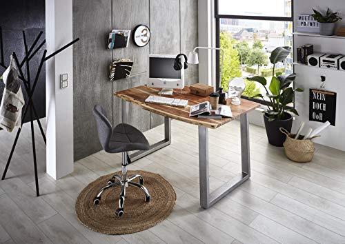 SAM Schreibtisch Palma 160x85 cm, Akazienholz naturfarben & massiv, Bürotisch mit echter Baumkante, Computertisch mit U-Gestell aus Metall Silber