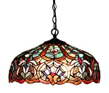 Chloe Lighting CH33473BV18-DH2 Sadie, Tiffany-Style Victorian 2-Light Ceiling Pendant Fixture, 18-Inch, Multi-Colored