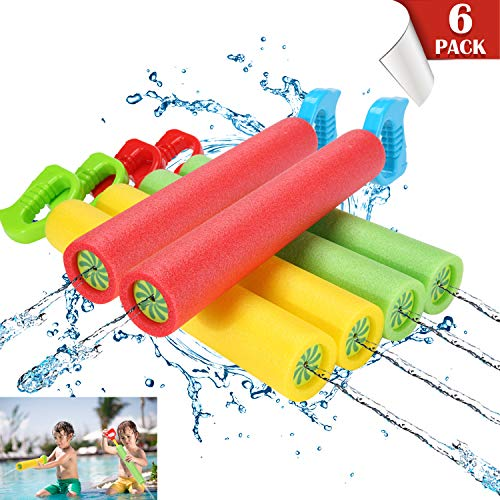 Cszxx Water Gun for Kids - 6PCS Foam Soakers Blaster Squirt Guns, Pool Noodles Toy with Plastic Handle Summer Swimming Beach Garden Fighting Game, Outdoor Toys for Kids Boys Girls Adults