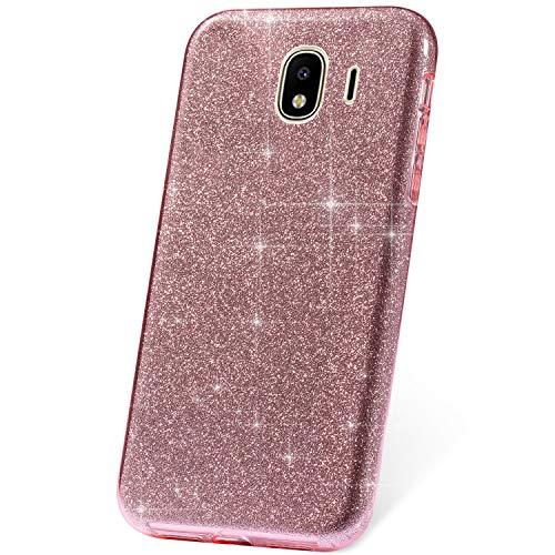JAWSEU Funda Compatible con Samsung Galaxy J2 Core Brillante Brillo Bling Transparente Funda 3 en 1 Dura PC y Suave Silicona Protección Carcasa Ultra Fina Anti-Rasguños Funda,Rosado