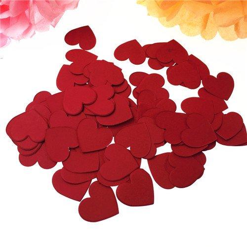 Regendeko 1 Zoll 100 Stück Papier Konfetti Herz Hochzeit Geburtstagsfeier Deko Valentinstag Hochzeit Party Tisch Dekorationen(Rot)
