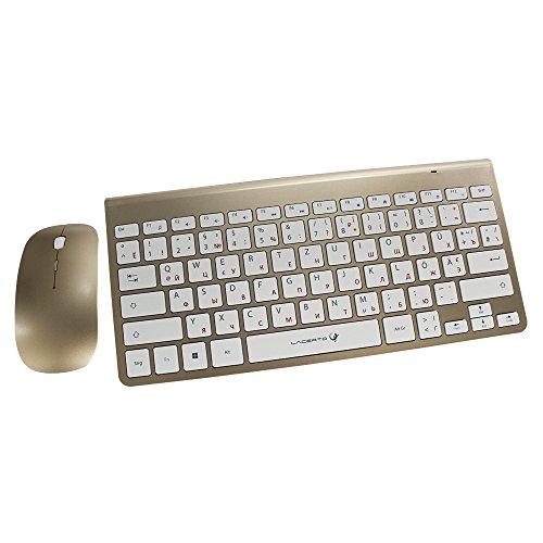 Lacerto® | Russisch-Deutsche kabellose Multimedia Tastatur & Maus Set, BELA-DR612g | Gold