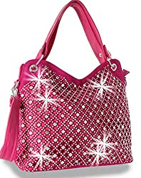 Fuchsia Mirror Rhinestone Bling Purse