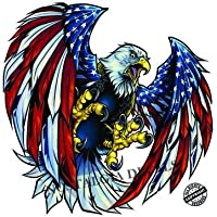 "Screaming American Flag Bald Eagle Wings 10"" Decalアメリカ合衆国の"