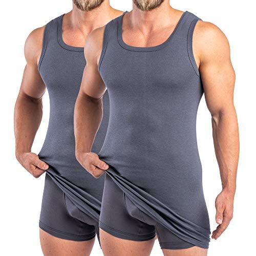 HERMKO 16027 2-pak heren extra lang onderhemd van katoen/modal