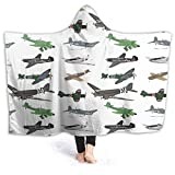 XCNGG Manta con Capucha Hooded Blanket Throw Multiple WW2 Airplanes Super Soft Sherpa Fleece Blanket Hood Poncho Cloak Cape