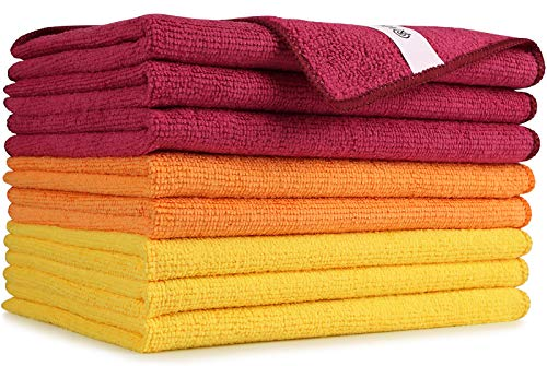 AIDEA Microfiber Cleaning Cloths-8PK, Softer Highly Absorbent, Lint Free Streak Free for House, Kitchen, Car, Window Gifts(12in.x16in.)