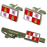 Select Gifts Castilla y León Bandera gemelos grabados Clip de corbata Matching Box...