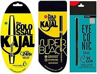 Glow Shine Super Black, Eyeconic, colossal Kajal Combo (Pack of 3)