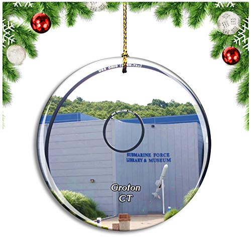 Weekino Groton Submarine Force Museum Groton Connecticut USA Christmas Ornament Xmas Tree Decoration Hanging Pendant Travel Souvenir Collection Double Sided Porcelain 2.85 Inch